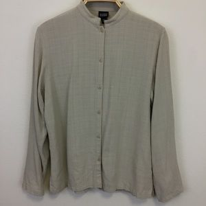 Eileen Fisher Taupe Button Down Blouse LS - S